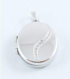 Stříbrný otvírací medailon s kamínkem