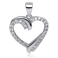 Stříbrný přívěsek - srdce s dvojitým efektem
