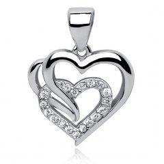 Stříbrný přívěsek - srdce s trojitým efektem