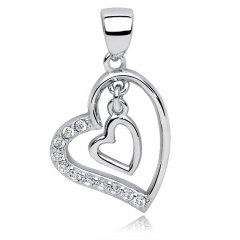 Stříbrný přívěsek srdce se zavěšeným srdíčkem