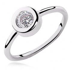Stříbrný prsten s kulatým zirkonem
