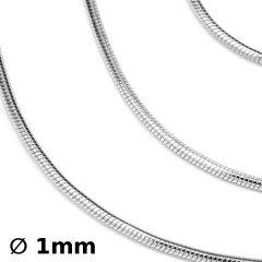 Kulatý stříbrný řetízek rhodiovaný, 45 cm