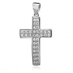 Stříbrný křížek s dvěma řadami zirkonů