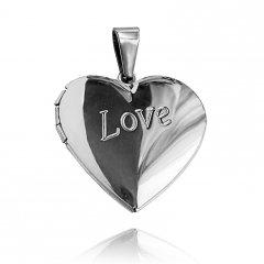 Ocelový otvírací medailon srdce Love