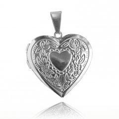 Ocelový otvírací medailon srdce se vzorem