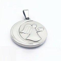 Ocelový přívěsek - medailon s andělem se srdíčkem