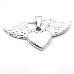 Ocelový přívěsek srdce s křídly