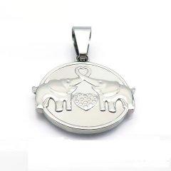 Ocelový přívěsek - medailon dva sloni