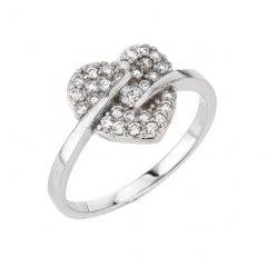 Stříbrný prsten s motivem srdce a zirkony