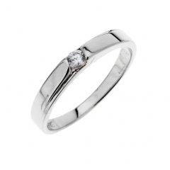 Stříbrný prsten - hladký kroužek se zirkonem