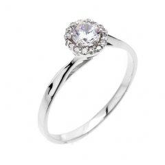 Klasický stříbrný prsten se zirkonem