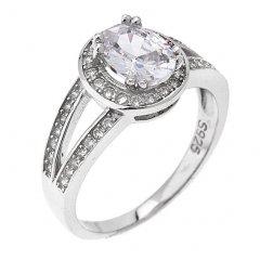 Stříbrný prsten s oválným zirkonem