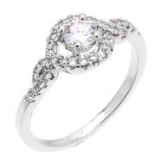Zářivý stříbrný prsten se zirkony