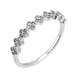 Stříbrný prsten - jemný kroužek s kytičkami