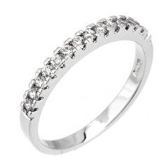 Stříbrný prsten - decentní kroužek se zirkony
