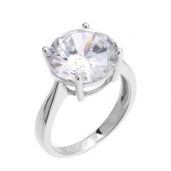 Stříbrný prsten s velkým kulatým zirkonem