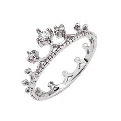 Jemný stříbrný prsten - korunka