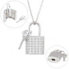 Stříbrný otvírací medailon - zámek s klíčkem