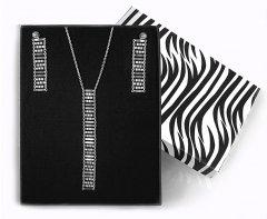 Souprava stříbrných náušnic a náhrdelníku s příčnými dílky