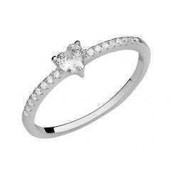 Subtilní stříbrný prsten se srdíčkem