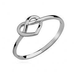 Stříbrný subtilní prsten s motivem srdce