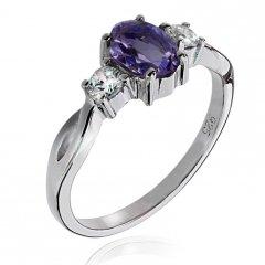 Stříbrný prsten AGLAIA s pravým iolitem