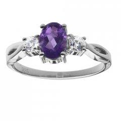 Stříbrný prsten AGLAIA s pravým ametystem