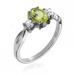 Stříbrný prsten AGLAIA s pravým olivínem - peridotem