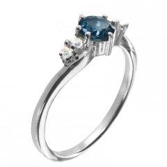Jemný stříbrný prsten s pravým topazem London blue