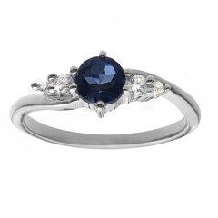 Jemný stříbrný prsten s pravým safírem