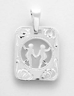 Stříbrný přívěsek znamení Blíženci - destička