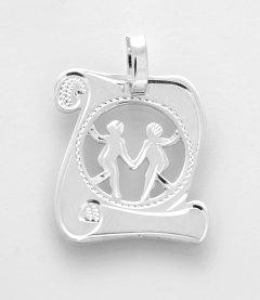 Stříbrný přívěsek znamení Blíženci - pergamen