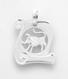 Stříbrný přívěsek znamení Býk pergamen