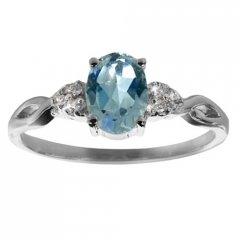 Stříbrný prsten AGLAIA s pravým topazem sky blue