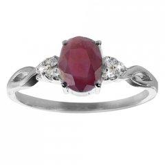 Stříbrný prsten AGLAIA s pravým rubínem