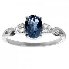 Stříbrný prsten AGLAIA s pravým safírem