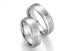 Ocelové snubní prsteny s diamanty DSE2005P