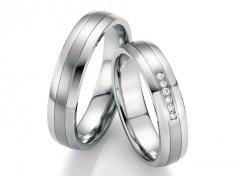 Ocelové snubní prsteny s diamanty DSE2007P