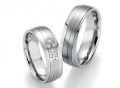 Ocelové snubní prsteny s diamanty DSE2017P