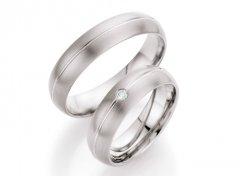 Titanové snubní prsteny s diamantem DTR0708P
