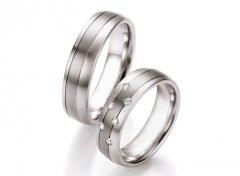 Snubní prsteny ocel + titan s diamanty DTS0604P - pár