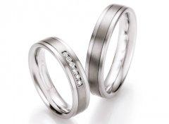 Snubní prsteny ocel + titan s diamanty DTS0606P