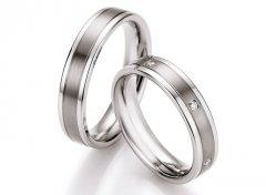 Snubní prsteny ocel + titan s diamanty DTS0607P - pár
