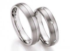 Snubní prsteny ocel + titan s diamanty DTS0608P - pár