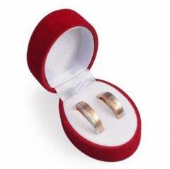 Krabička na šperky sametová červená oválná