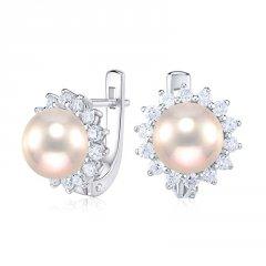Stříbrné náušnice s růžovou perlou a zirkony