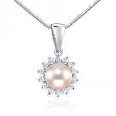 Stříbrný přívěsek s růžovou perlou
