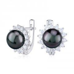 Stříbrné náušnice s tmavou perlou a zirkony