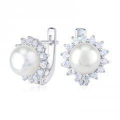 Stříbrné náušnice s bílou perlou a zirkony