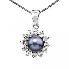 Elegantní stříbrný přívěsek s tmavou perlou